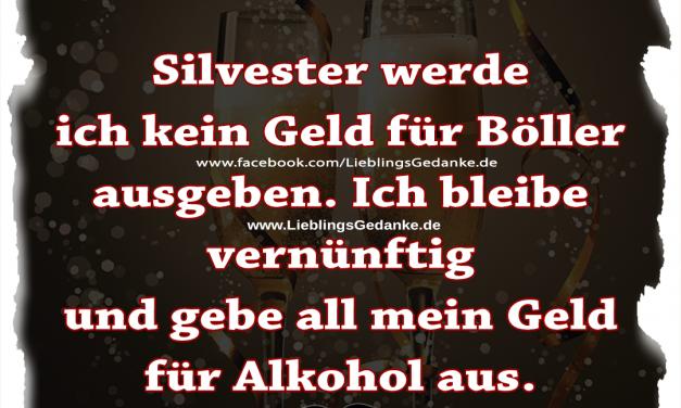 Silvester werde ich kein Geld für Böller ausgeben. Ich bleibe vernünftig und gebe all mein Geld für Alkohol aus.